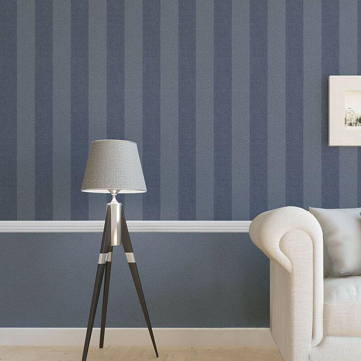 Crown Tweed Stripe Linen Blue Wallpaper - http://godecorating.co.uk/crown-tweed-stripe-linen-blue-wallpaper/