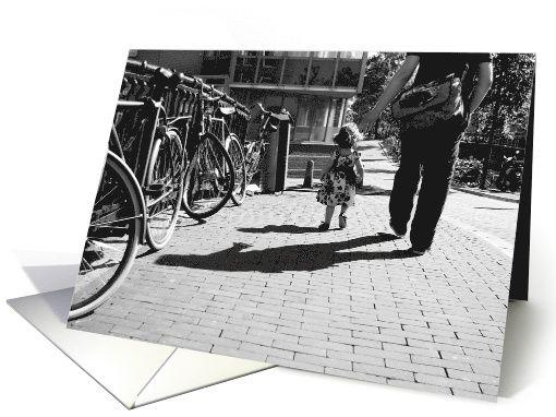 Walk safely first steps little girl - black & white Blank note card