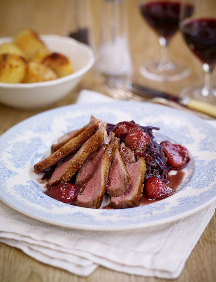 Roasted Duck with a BerryWorld Strawberry Red Wine Sauce and Braised Red Cabbage. Sophie says: Duck pairs very well with fruity sauces and the strawberries paired with red wine really makes for a comforting combination, perfect for autumn. The red cabbage with its light winter spices is also lovely. I suggest serving this with some rosemary and garlic roast potatoes.