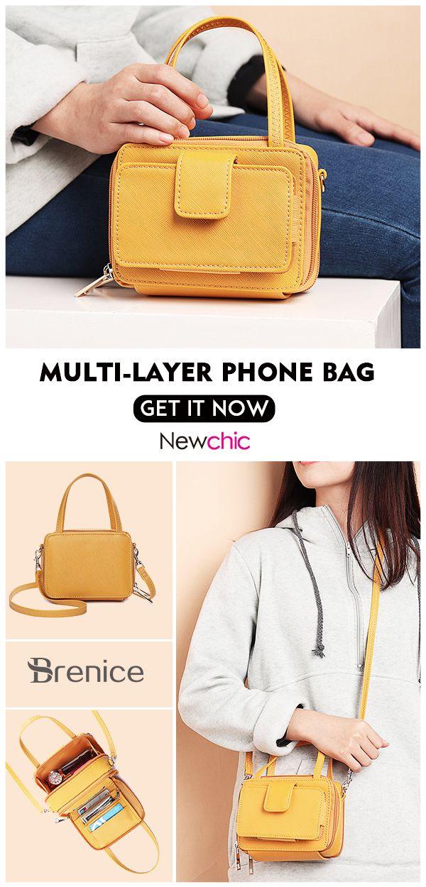 【US$ 24.99】Women Square Card Holder Phone Bag Multi-layer Crossbody Bag #Cro…