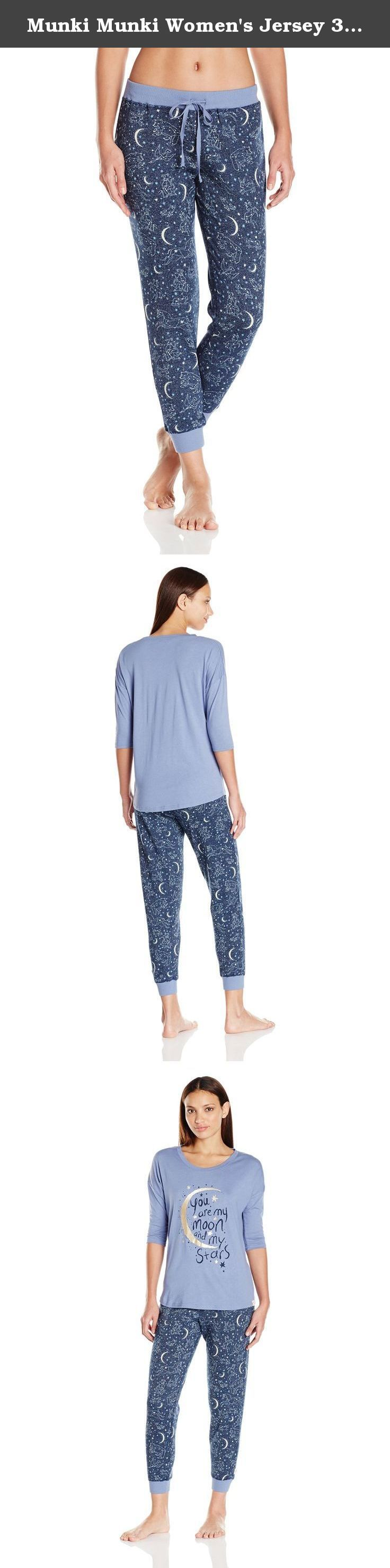 Munki Munki Women's Jersey 3/4 Sleeve Slouchy Tee and Sparkle Fleece Jogger Set, Navy Constellations, Large. Slouchy top with fun graphic print and super soft sparkle fleece plants.
