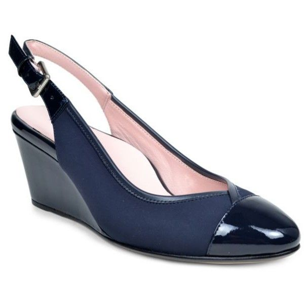 Taryn Rose Navy Blue Karine Slingback Pump - Women's ($219) ❤ liked on Polyvore featuring shoes, pumps, navy blue, strap pumps, navy slingbacks, strappy pumps, taryn rose shoes i navy blue wedge pumps