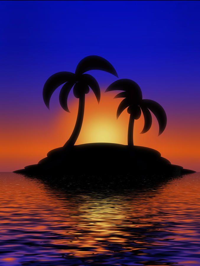 Palm Tree Sunset Paintings