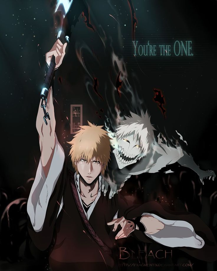 (Hichiichi) This is an amazing fan art of Ichigo and ...his inner hollow. Yes, his other half of his soul. This is one of the weird, but extremely popular shippings in bleach. It's basically Ichigo dating himself, but oh well.