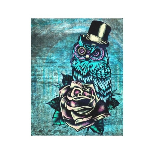 Be wise teal sugar skull owl art on canvas canvas print for Owl with sugar skull tattoo