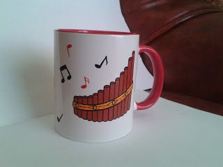 Nai cu note muzicale / Panpipes with musical notes   -------  cana pictata manual / handmade painted mug ***** pret: 30 lei / price: 6 euro