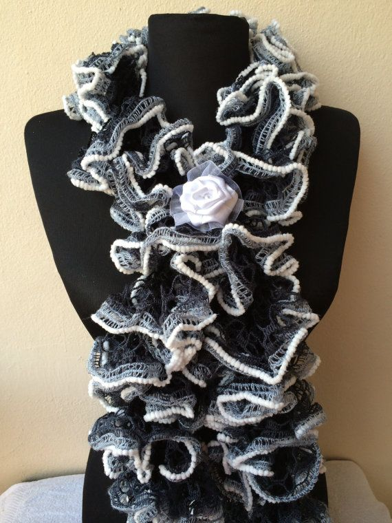 Black And White Scarf Ruffle Scarf Knitted by SandraHandmadeShop
