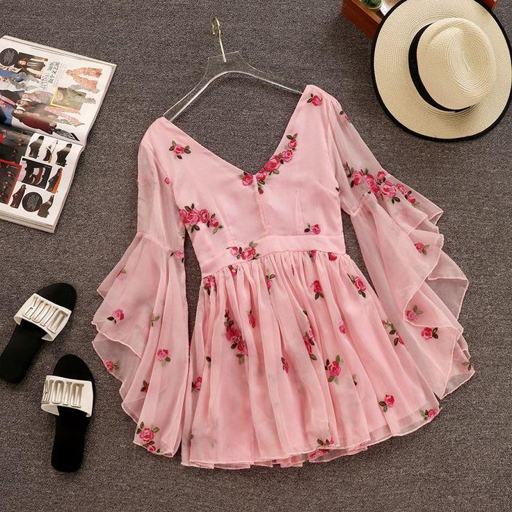 V neck floral ruffle sleeves chiffon dress NA01 – iawear