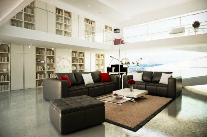 Living Room, Arc Lamp Ceiling Lamps Black White Luxury Modern Brown Living Room Mezzanine Sofa Ottoman Cushions Carpet Piano Telecope Bookcase Books Red Chairs Coffee Table Flower Vase And Glass Wall ~ Luxury Modern Living Room In Amazing House
