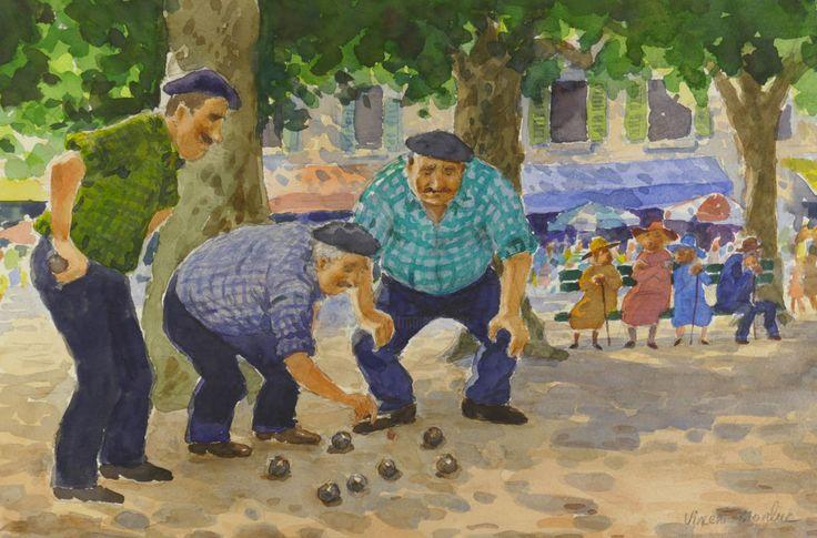 La mesure - pétanque 13. - Painting,  35x25 cm ©2017 by vincent monluc -                                                              Figurative Art, Paper, People, petanque, boules