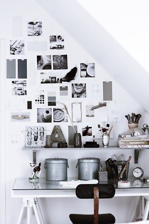 Great use of under stairs space. Love the monochrome colour palette of this home office/workplace too