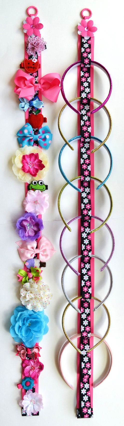 Funky Flower Matching Headband Holder & Hair Bow Holder Set