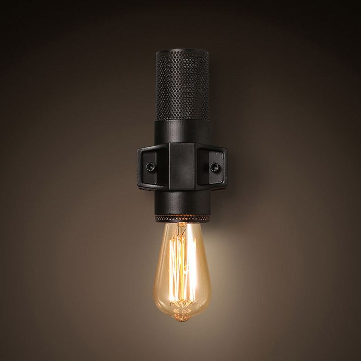 49 best wall light images on pinterest sconces wall lamps and industrial 1 light exposed bulb wrought iron wall light cylinder net retro old mozeypictures Gallery