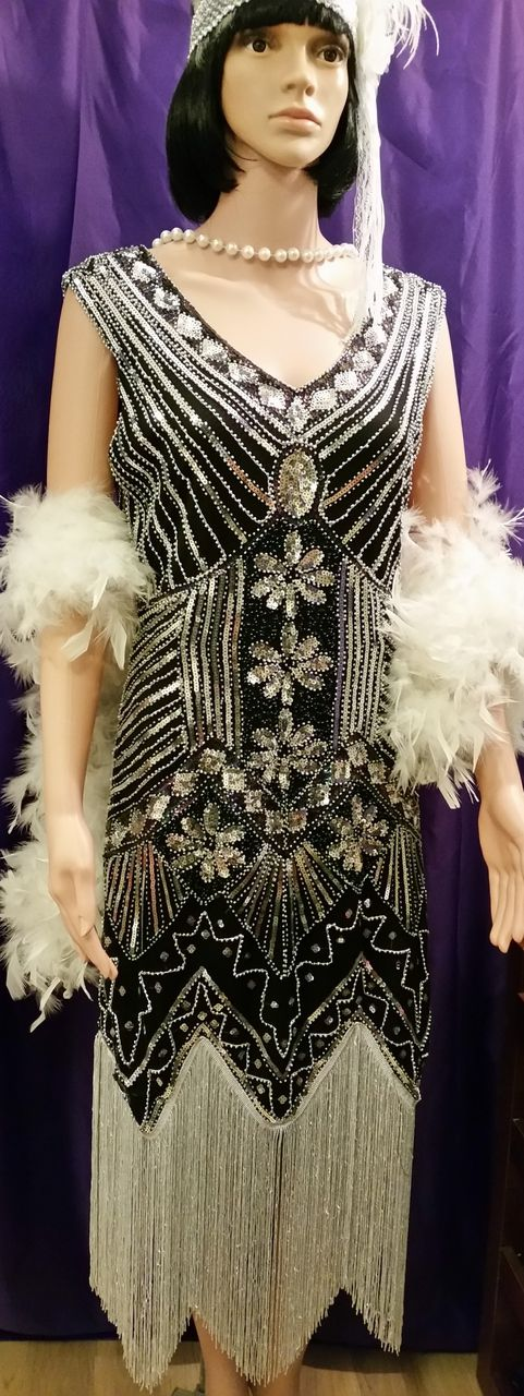 Black and Silver Beaded 1920's Flapper Dress for Hire - The Littlest Costume Shop in Melbourne