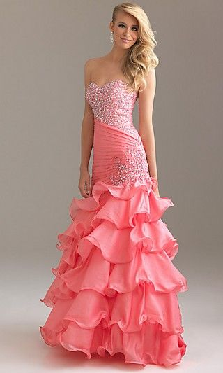 Beaded Strapless Coral Night Moves 6425 Layered Ball Gown [Coral Night Moves 6425] - $141.26 : Fashion dresses, 50% off Designer dresses at UrDressOnline
