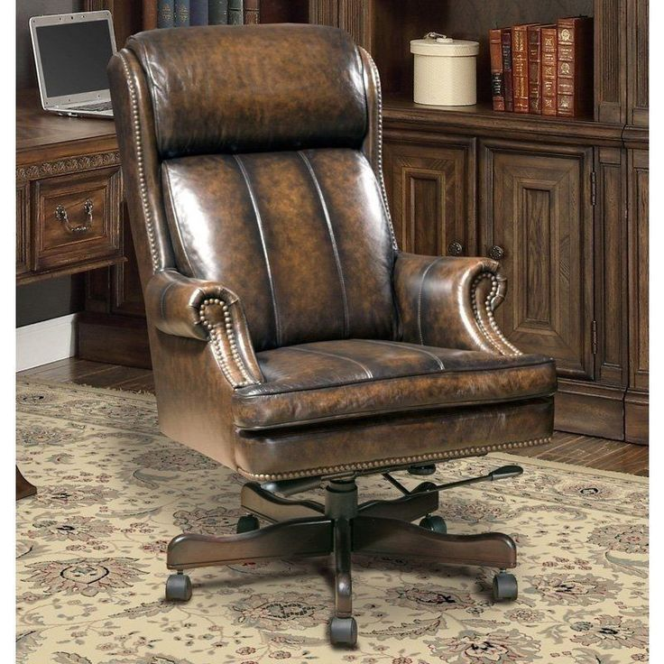 Executive Office Chair Leather Brown Vintage Manager Furniture Arm Rest Swivel  #ExecutiveOfficeChairLeather #ExecutiveManagerialChair