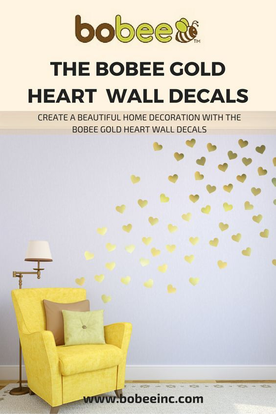 Bobee gold heart wall decals easy peasy to decorate just peel and stick