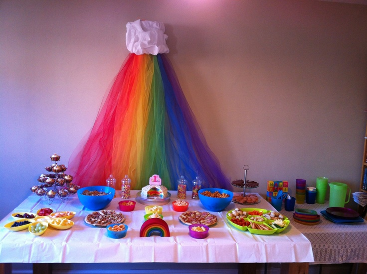 Tulle rainbow that I saw on pinterest, re-pinned & then made myself, which has now been re-used in our play-room for the reading corner!