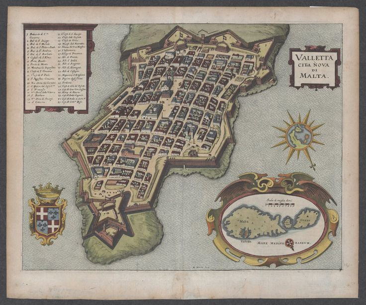 """April 13, #MaltaMapMonday we have a nice bird's eye view of Valletta with the Maltese archipelago in a cartouche, """"Valletta Citta Nova di Malta"""". Note the cross on the compass rose on the inset map of the Maltese archipelago. SW at top. After Villamena's map of 1600-1602, in """"Sommaire des Privileges Octroyez a l'Ordre de S. Jean"""" Image courtesy of the Glen McLaughlin Map Collection."""