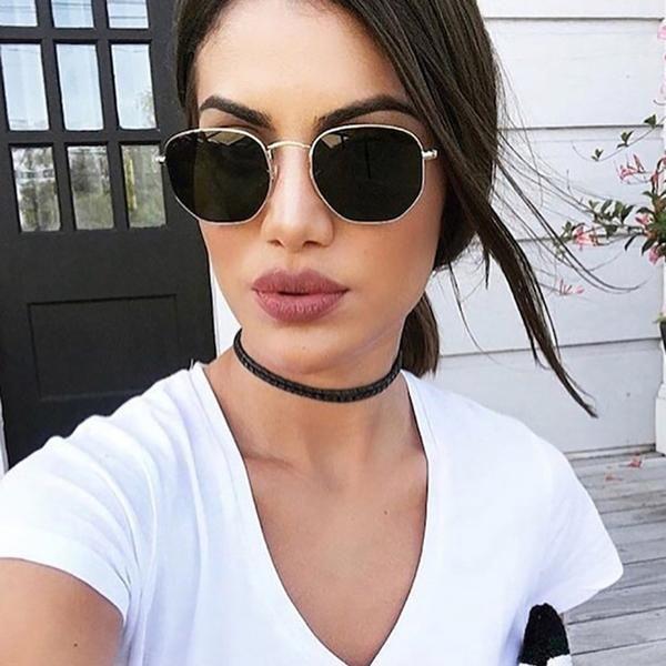 Hexagon Black Sunglasses | Sunglasses women, Hexagon