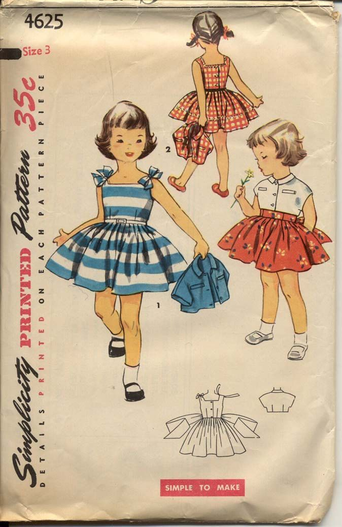 Simplicity 4625 Girls 1950s Dress Pattern Full Skirt Sundress & Jacket Tie Shoulders Back Button Childrens Vintage Sewing Pattern Breast 22. $16.00, via Etsy.