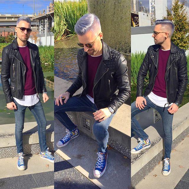 Leather weather #fallfashion #torontolife #mensfashion #menshairstyle #platinumhair #gay #torontogay #burgundy #hair #allsaints #fashion #style #sun #superman