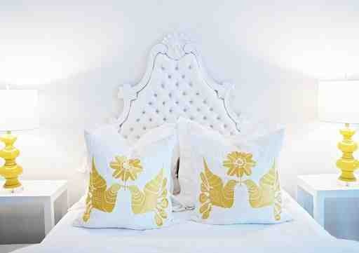 Interior Design by Lee Kleinhelter: Yellow Wall, Yellow Bedrooms, Tufted Headboards, Color, Interiors Design, White Bedrooms, Yellow Accent, Wall Beds, Yellow Lamps