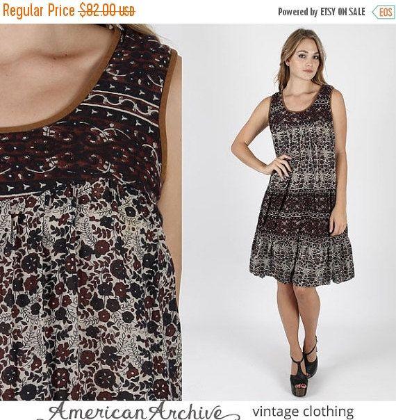 OP verkoop Vintage 80s India gaas jurk Boho door AmericanArchive