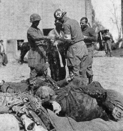 Somewhere in Italy, FSSF Medics are treating enemy casualties. This joint US-Canadian unit composed of specially trained personnel, masters in airborne, amphibious, mountain, and winter tactics were drawn from elite volunteers. They fought in the Aleutians, Italy, and Southern France. http://med-dept.com/gallery/treatment-of-wounded/