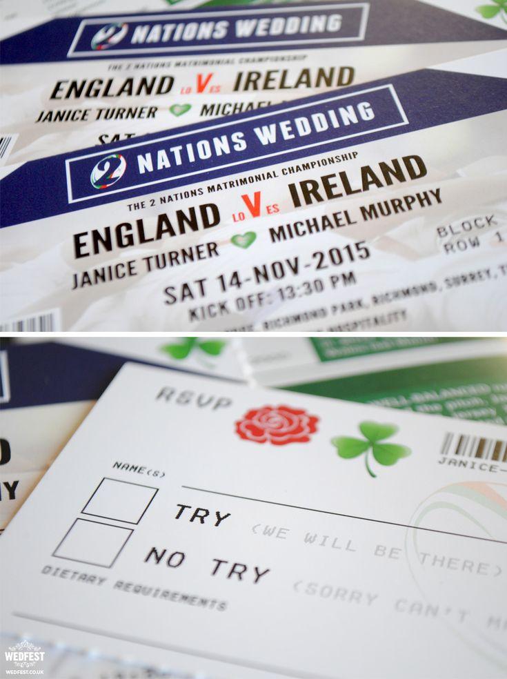 England Ireland rugby wedding invites http://www.wedfest.co/ireland-vs-england-rugby-ticket-wedding-invitations/