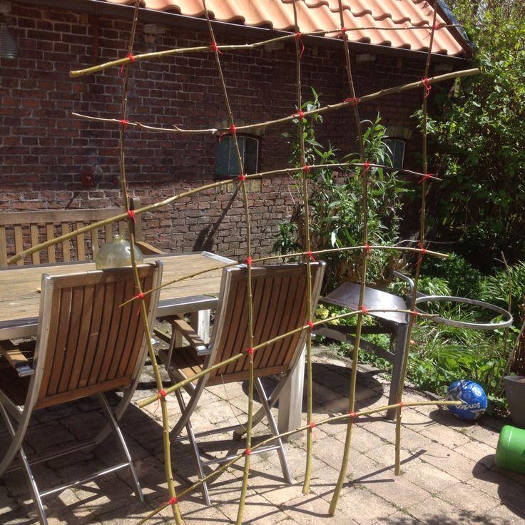 Gemaakt van wilgentakken, straks kunnen de tomaten er tegenaan groeien.