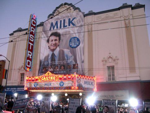Theater goers gather outside the Castro Theater for the premiere of Milk, staring Sean Penn and Josh Brolin, in San Francisco, on Tuesday, Oct. 28, 2008.