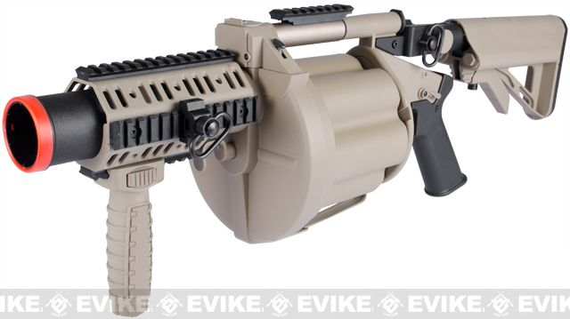 ICS MGL Full Size Airsoft Revolver Grenade Launcher - Tan, Airsoft Guns, Grenade Launchers - Evike.com Airsoft Superstore