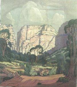 J H Pierneef. Rustenburg Kloof. Oil on canvas.