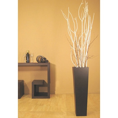 White Mitsumata Branches with Black Floor Vase - N/A