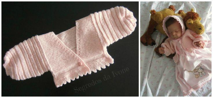 BE116 - Confecção de jaquetinha em tricôt, sem costuras. Ideal para saída de maternidade.