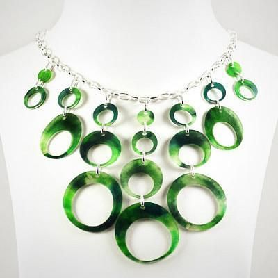 Upcycled Green Plastic Bib Necklace