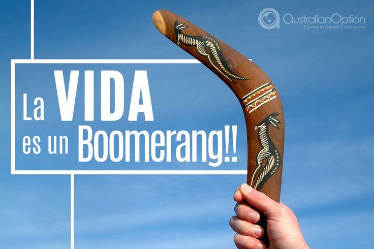"""Se cuenta que en la primera tribu aborigen en Nueva Gales del Sur, gritaban """"¡boom-ma-rang!"""" mientras lanzaban y atrapaban un extraño objeto curvado, esta expresión significa """"¡Vuelve bastón!"""". Según otros autores, la palabra #boomerang proviene del término aborigen boomari, que significa viento; pero en la vida secular se aplica como: lo que das, eso lo recibes!"""