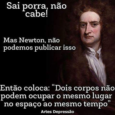 Newton mandando a lei Sugestão de José Garbim (Retrato de Isaac Newton - Godfrey…