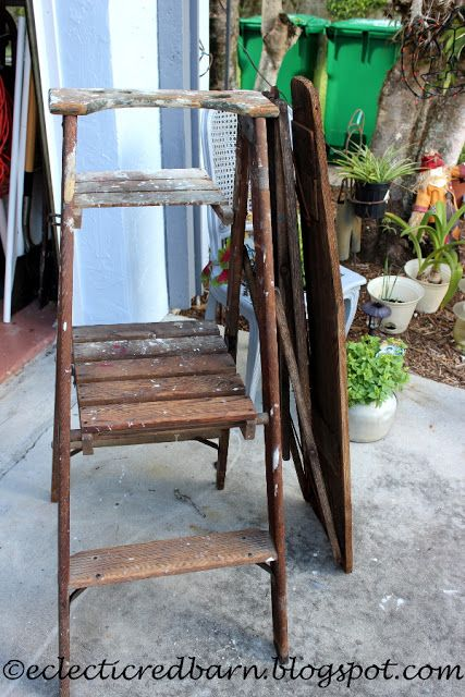 Eclectic Red Barn: Old ladder and Old Small Ironing Board