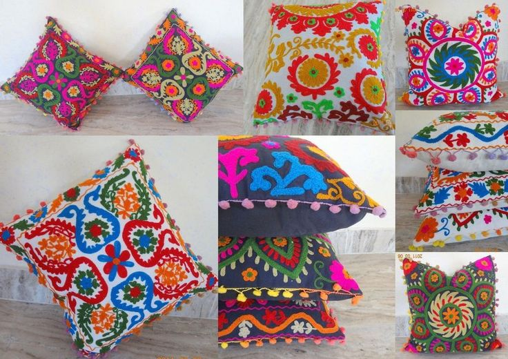 "5 pcs Lot Home Decor Embroidered Vintage Suzani Cushion Cover 16x16"" Pillow Case #Ethnic"