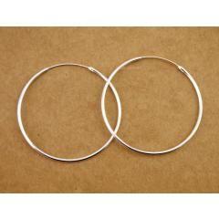 [ 50% OFF ] 925 Sterling Silver 1.6Mm Circle Huggie Hoop Endless Earrings 50Mm A1964