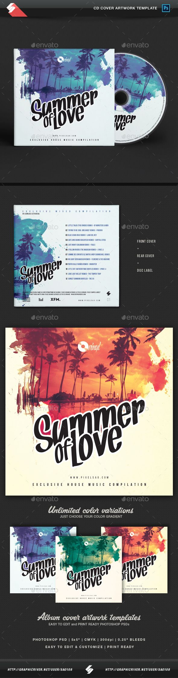 Summer Of Love - CD Cover Artwork Template PSD. Download here: https://graphicriver.net/item/summer-of-love-cd-cover-artwork-template-/17353229?ref=ksioks