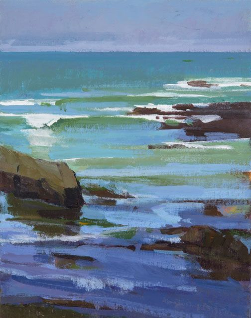 Marcia Burtt  Bright Morning, Otter Cove  acrylic 14×11 in.