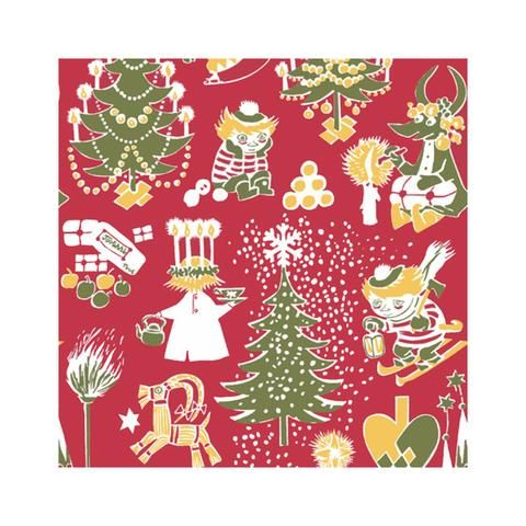 Christmas Moomin napkins red by Suomen Kerta