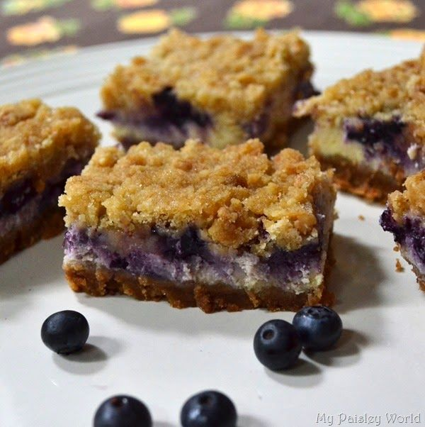 Blueberry Crumble Cheesecake Bars! Decadent Blueberry Sweetness! http ...