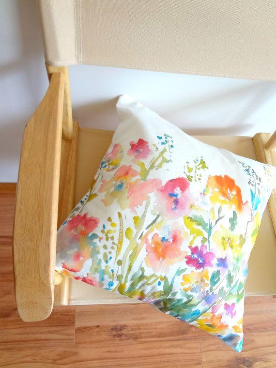 Watercolor Floral Pillow Cover, Designer Watercolor Pillow Accent, 18x18, 20x20, 24x24 Pillow Covers