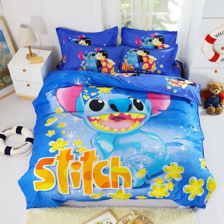 Dark Blue Lilo and Stitch Bedding Set