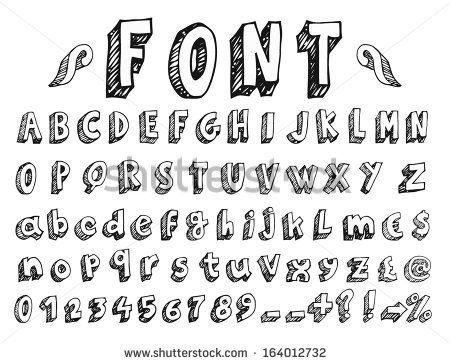 hand letter alphabet styles | Hand drawn alphabet. Handwritten font - doodle - Letters, uppercase ...