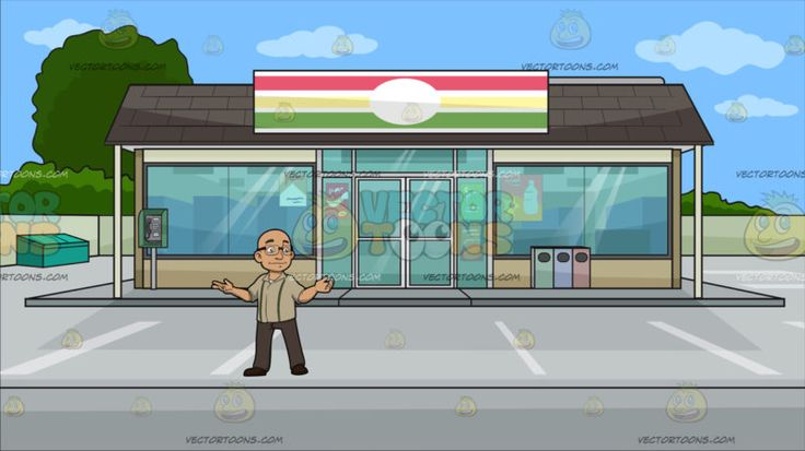 A Bald Man With Glasses At Outside A Convenience Store :  A bald man with eyeglasses wearing a light pale brown collared shirt with two green stripes light brown pants and dark brown shoes smirks while extending both arms sideways. Set in a facade of a convenience store with glass windows and doors striped red yellow green and white sign dark brown roofing beige walls a green blue and red trash bin a parking space and trees surrounding the lot.